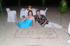 Vow renewal dinner on the beach