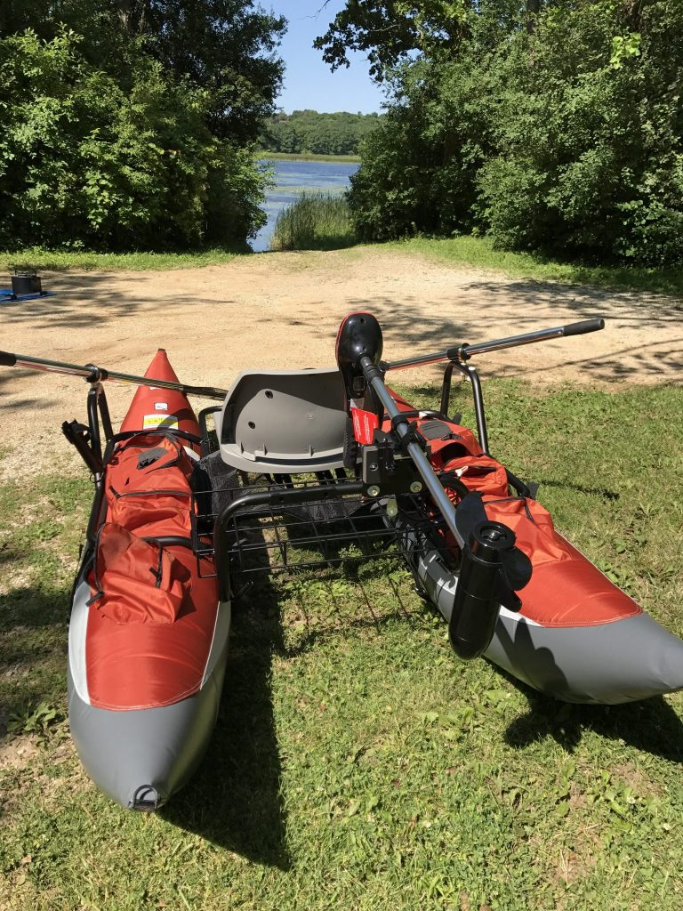 Inflatable Pontoon Boat Rear View