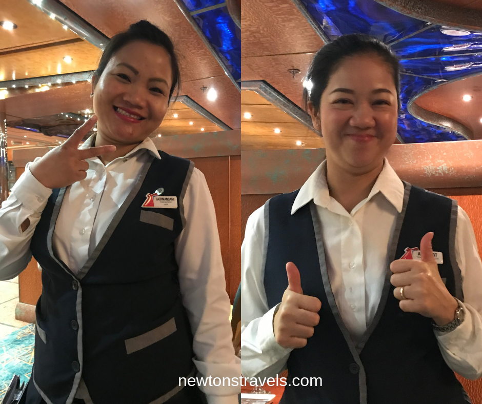 Our dinner servers on the Carnival Victory
