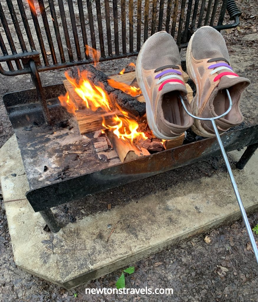 Camping tips for beginners: don't forget to bring extra shoes and clothes.