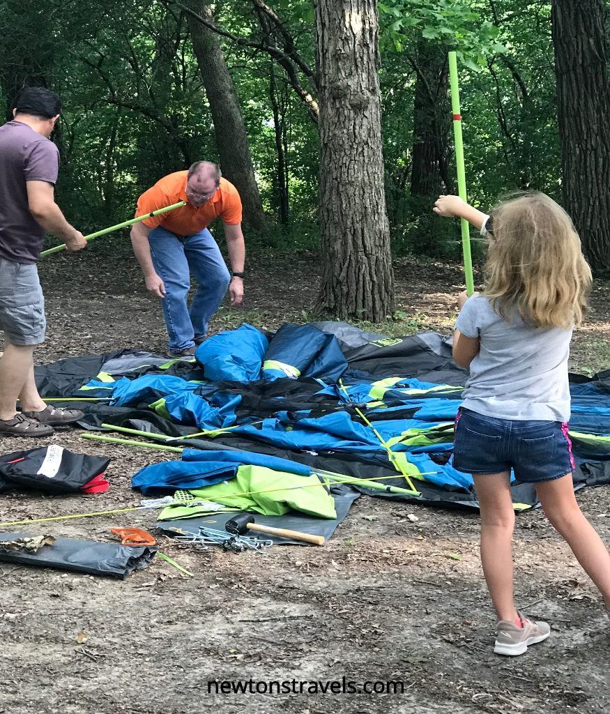 Tent assembly for camping trip